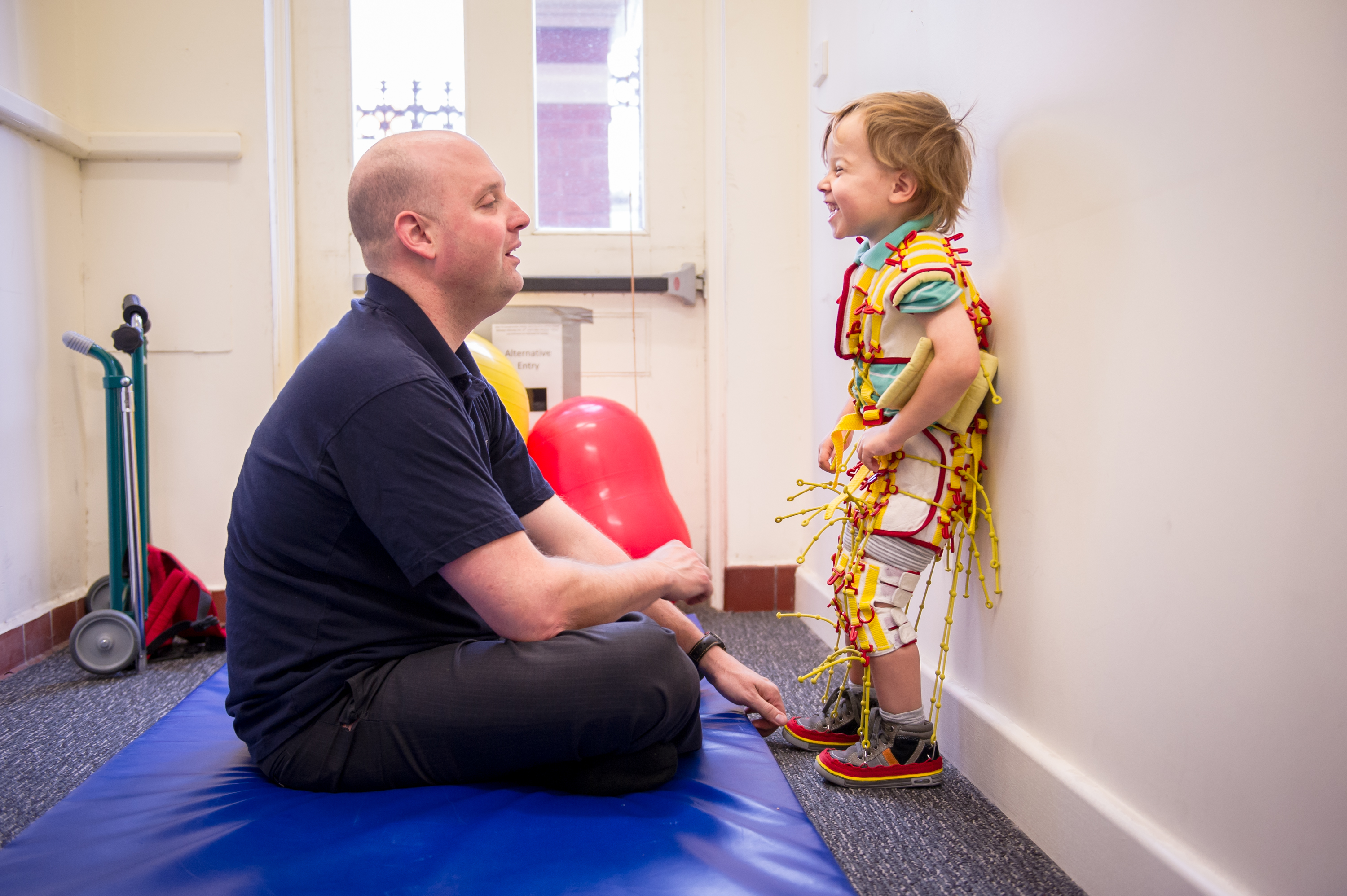 A child during intensive therapy for cerebral palsy in Brighton, Adelaide, South Australia